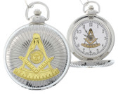Masonic Past Master Pocket Watch - Duo-tone Steel and Gold Color Emblem / Mason Square and Compass Design - Masonic Quartz Watches