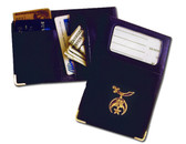 Shriners Masonic I.D. Wallet - Standard Freemason Shriner Symbol on Black Vinyl. Credit card slots, zippered pocket coin / money holder. Masonic Gifts