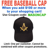 FREE hat with over $100 - Use coupon code MASONCAP - Freemason's Baseball Cap - Black Hat with Golden Standard Masonic Symbol - One Size Fits Most
