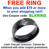 FREE with $75 or more - Use coupon code: BLKRING - Black Freemason Ring / Masonic Ring - Rounded All Way Design - 316L Stainless Steel Band Mason Ring