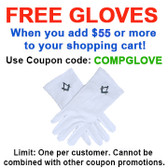 FREE with $55 or more! Coupon Code: COMPGLOVE - Get (1) Pair of Masonic Standard Elegant Plain Blue Style Square and Compass Face Cotton Gloves. White (One Size Fits Most)
