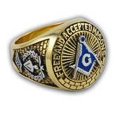 Blue Lodge - Duo-Tone Silver Icons and Gold Color Steel Band. Freemason Ring with Blue Mason Symbol - Free and Accepted Masons - Masonic Rings for sale - Freemason Jewelry