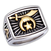 Freemasons Shriner Ring - Duo-tone Gold and Silver color Steel Emblem with Rays of Light and Grand Elect Mason Symbol - Masonic Ring / Shriners Ring