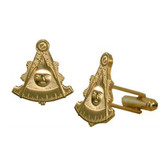 Masonic Cuff links - Gold Color with Past Master Freemasons Symbol. Masonic Regalia Merchandise for the Lodge