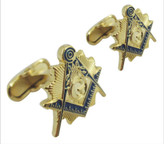 Masonic Cufflinks - Gold tone with Blue Lodge color Enamel Freemasons Badge Symbols. Masonic Regalia, Merchandise and Accessories.