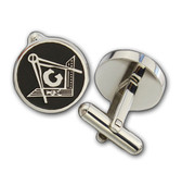 Masonic Cufflinks - Silver tone with black enamel - Rounded Style Compass and Square Freemasons Symbol. Masonic Regalia Merchandise for the Lodge
