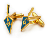 Masonic Lodge Blue Trowel Cuff links (one pair) - Gold Color with Classic Freemasons Symbol. Masonic Merchandise and Gifts and Accessories.