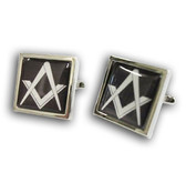 Freemason Cufflinks - SIlver Color with Standard Freemasons Symbol on Black. Freemason Regalia Merchandise for the Lodge