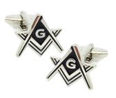 Masonic Regalia - Freemason Cufflinks - Silver tone with Black enamel cut out Masonic Square and Compass Symbols. Freemason Merchandise Formal Wear Attire