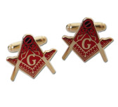 Mason Cufflinks - Red Masonic Emblem on Gold Color with Standard Freemasons Symbol. Freemason Regalia Merchandise for Masonic Lodge