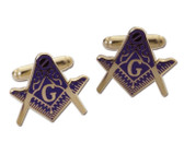 Masonic Regalia - Masonic Cufflinks - Dark Blue Lodge Emblem on Gold Color with Standard Freemasons Symbol. Freemason Merchandise for Masonic Lodge