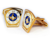 Masonic Cuff links - Gold Tone Steel Masonic Keystone Standard Cufflinks For Freemasons - Mark Master. Freemason Regalia Merchandise for the Lodge