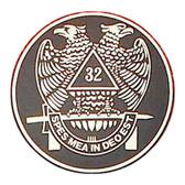 Freemasons Car Emblem Decal / Scottish Rite 32nd Degree Scottish Wings Down Bald eagles. Masonic bumper decal with black background for Freemasons