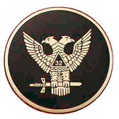 Masonic Car Decal Emblem / Scottish Rite 32nd Degree Scottish Wings Up Bald eagles with black background for Freemasons