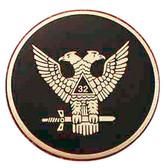 Masonic Car Decal Emblem / Scottish Rite 32nd Degree Scottish Wings Up Bald eagles with black background for Freemasons