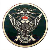 Masonic Car Decal Emblem / Scottish Rite 33rd Degree Scottish Wings Up - Red Crowned Bald eagles with black background for Freemasons.