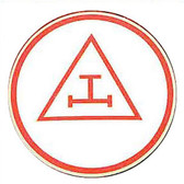 Masonic Car Emblem / Red Royal Arch symbol. Triple Tau Masonic car bumper decal with white background for Freemasons