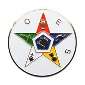 Order of the Eastern Star Car Bumper Decal - Masonic Car Emblem for OES with White Solid Disc Background.