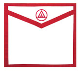 Masonic Royal Arch White and Red Duck Cloth Apron For Freemasons - Triple Tau Standard Red logo. Masonic Lodge Regalia and Apparel Merchandise.