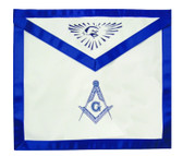 Masonic Aprons - Master Mason - Masonic Blue Lodge White and Blue Duck Cloth Apron For Freemasons - Stencil Compass and Square logo with all seeing eye at top. Masonic Lodge Regalia and Apparel Merchandise.