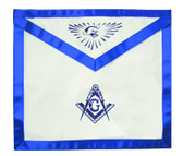 Master Mason Masonic Blue Lodge White & Blue Duck Cloth Apron For Freemasons. Bold Compass, Square & All Seeing Eye. Masonic Lodge Regalia and Apparel Merchandise
