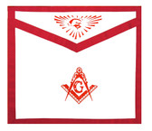 Masonic Regalia - Master Mason Masonic Apron Red Lodge - White and Red Duck Cloth Apron For Freemasons - Bold Compass and Square logo with all seeing eye at top. Masonic Lodge Apparel Merchandise.