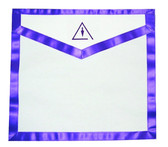 Cryptic Mason Right Break - Masonic Lodge White and Purple Duck Cloth Apron For Freemasons - Royal and Select Cryptic Trowel Icon with right break on top. Masonic Lodge Regalia and Apparel Merchandise.