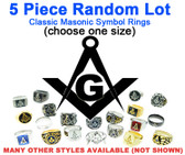 wholesale masonic rings for sale - Five (5) Pack - Random Freemason Rings Cheap - Suggested Value $175 - Mixed Lot of Stainless Steel Wholesale Masonic Rings - choose one size per set.