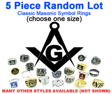 Five (5) Pack - Random Freemason Rings Cheap (Select Size) - Suggested Value $175 - Mixed Lot of Stainless Steel Wholesale Masonic Rings - choose one size per set.