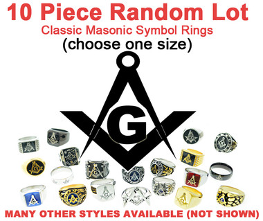 Ten (10) Pack - Random Freemason Rings Cheap (Select Size) - Suggested Value $350 - Mixed Lot of Stainless Steel Wholesale Masonic Rings Cheap - choose one size per set.
