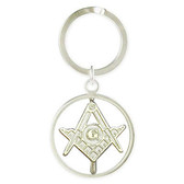 Masonic Keychain Spinner face with cut out design and etched Compass and Square symbol. Gift for Freemason