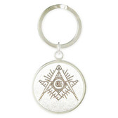 Masonic Keychain with Silver tone and etched Compass and Square symbol. Gift for Freemasons. .