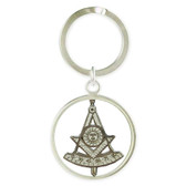 Past Master Freemasons Keychain Spinner face with cut out design and etched Masonic symbolism. Masonic Gifts.