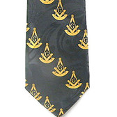 Past Master Masonic Neck Tie - Black and Yellow Polyester long tie with duplicated Masonic pattern design for Freemasons