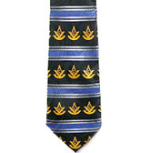 Past Master Masonic Neck Tie - Blue Polyester Long Tie with White Masonic Symols and Striped Pattern Design for Freemasons