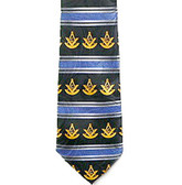 Past Master Masonic Neck Tie - Blue Polyester Long Tie with White Masonic Symbols & Striped Pattern Design for Freemasons