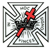 Masonic Knights of Templar Car Window Sticker Decal - Masonic Car Emblem with black logo and red cross.