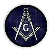 Blue Round Masonic Car Window Sticker Decal - Masonic Car Emblem with blue and white Compass and Square logo.