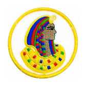 D.O.I. Masonic Patch - Classic colorful symbol on round surface for Freemasons. Daughters of Isis Ancient Egyptian Mythology