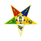 Order of the Eastern Star Masonic Patch - Classic coloful OES star symbol with cut out design.