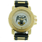 freemasons masonic watch Scottish Rite Masonic Watches - Black Silicone Band - 32nd Degree Scottish Rite Symbol - Gold Face Dial Watch