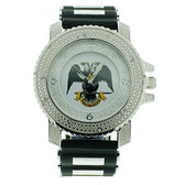 Scottish Rite Masonic Watch - Black Silicone Band - 32nd Degree Scottish Rite Symbol - Silver Tone Face Dial Watch