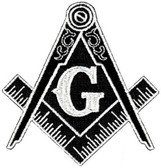 Black and white Masonic Cut Out Shaped Iron on Patch For Freemasons