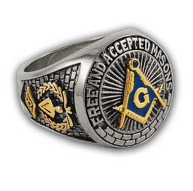 Blue Lodge - Duo-Tone Gold Icons Silver Color Band. Freemason Ring Blue Mason Symbol Free and Accepted Masons - Masonic Rings for sale - Freemason Jewelry
