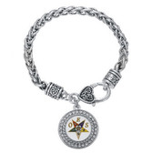 OES Silver Tone Chain Link Bracelet with Order of the Eastern Star Symbolism Jewelry - One Size fits most adjustable wristlet.