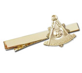 Past Master Masonic Tie Clip / Tie Bar - Gold  Standard Freemasons Symbol Face..