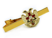 Scottish Rite Masonic Eagles and Cross Tie Clip / Tie Bar - Gold Color with Classic Red Cross Freemasons Symbol