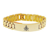 Masons Bracelet - Gold Tone - Stainless Steel Freemason - Linkage Bracelet with Simple Masonic Symbol