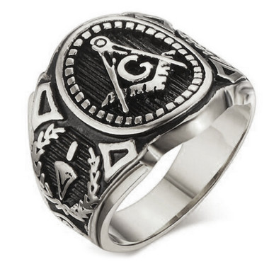 Silver Color Freemason Ring - stainless steel with classic center design, pin stripes, etched tool symbols (Masonic Rings)