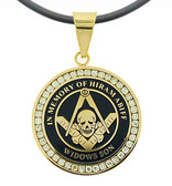 Widows Sons - Gold Color Stainless Steel Masonic Freemason Pendant Medal Charm with CZ Rim and Skull Square and Compass - In Memory Of Hiram Abiff. Includes PVC Chain Necklace